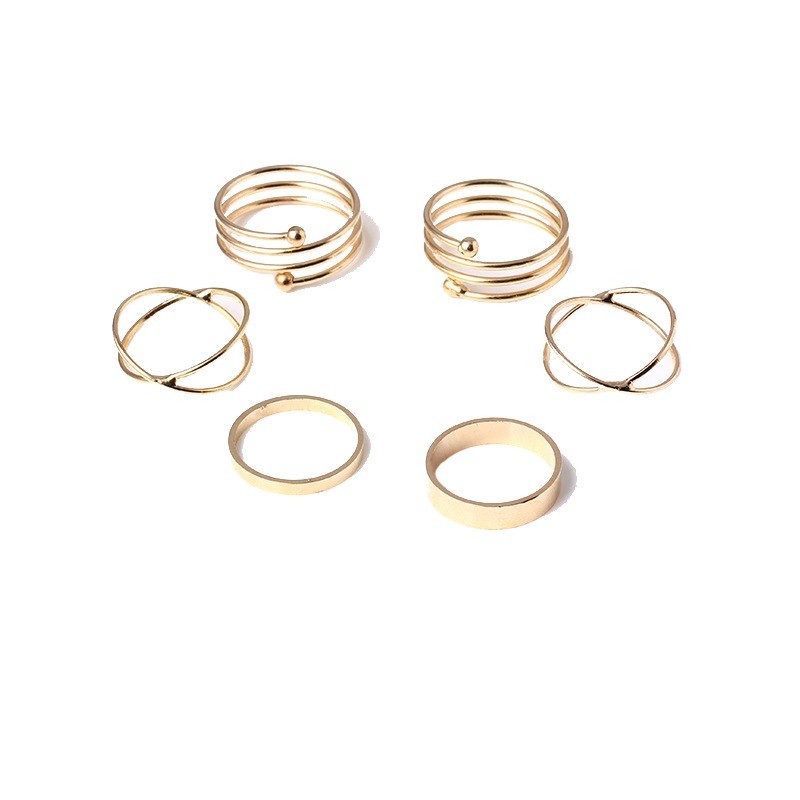 6PCS Mid Finger Rings Top Stacking Rings Three Pieces Set For Women Punk Gold Plated Stackable Spiral Nail Knuckle Rings R100(China (Mainland))