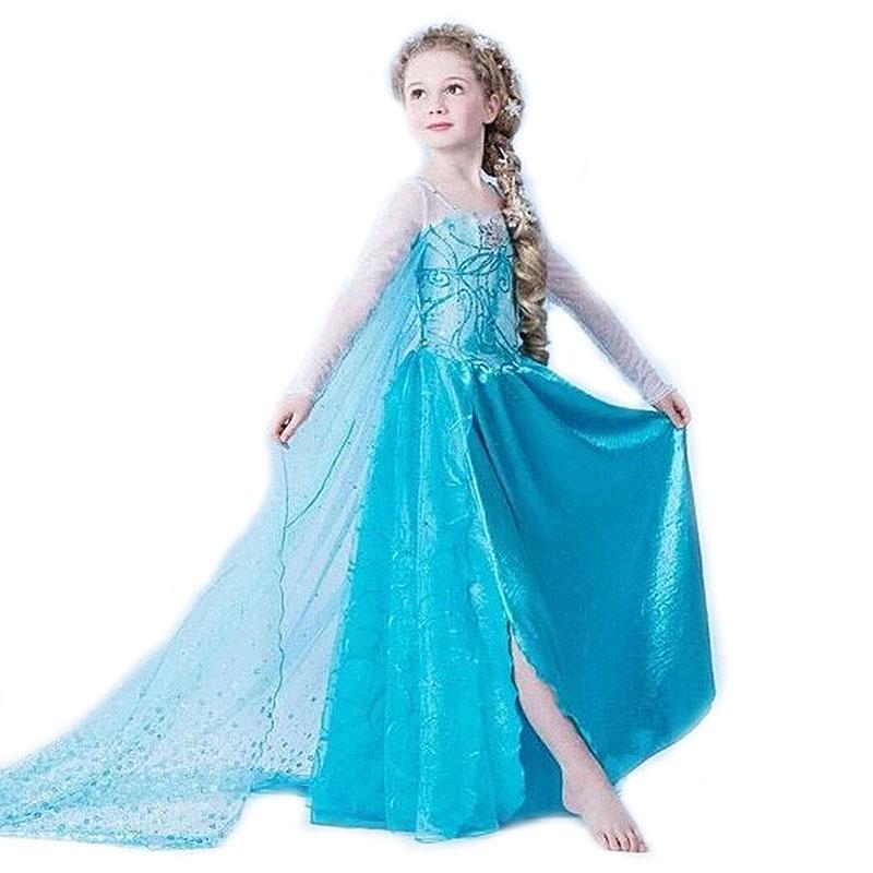 Princess Girl Dress kids Baby Girl Dress Children summer Clothing fever elsa anna dress Girls Cosplay Costume Halloween(China (Mainland))