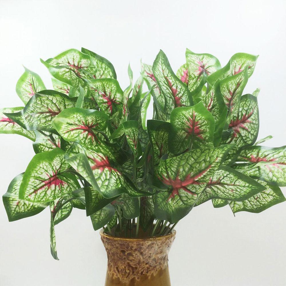 2017 Hot Sale Sale Decoration 1pcs 5 Taro Leaf Artificial Plastic Plants Floral Decor Fake Leaves Simulation Small Potted Plant