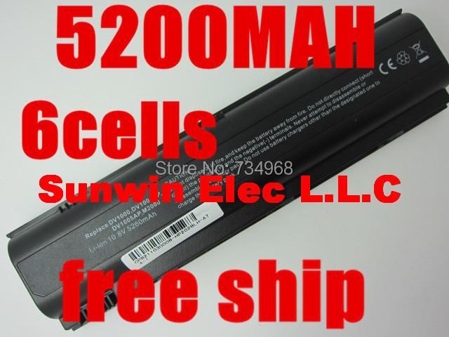 6cells laptop battery for COMPAQ Presario V4300 V4400 V5000 V5100 V5200 V5300 FOR HP Pavilion DV1000 DV1100 DV1200 DV1300 DV1400(China (Mainland))