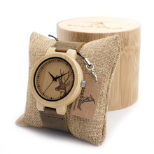 Men's New Watch Gift Engraved Elk Head Natural Wooden Watches Genuine Cowhide Leather Luxury Brand Wristwatch with Bamboo BOX