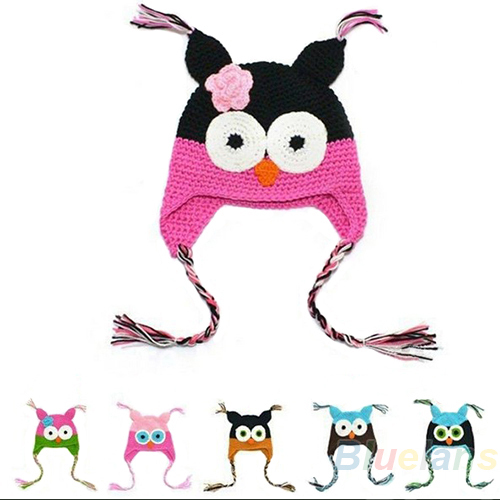 Multicolor Infant Toddler Handmade Knitted Crochet Baby Hat owl hat Cap with ear flap Animal Style For Girl Boy Gift 1DB8(China (Mainland))
