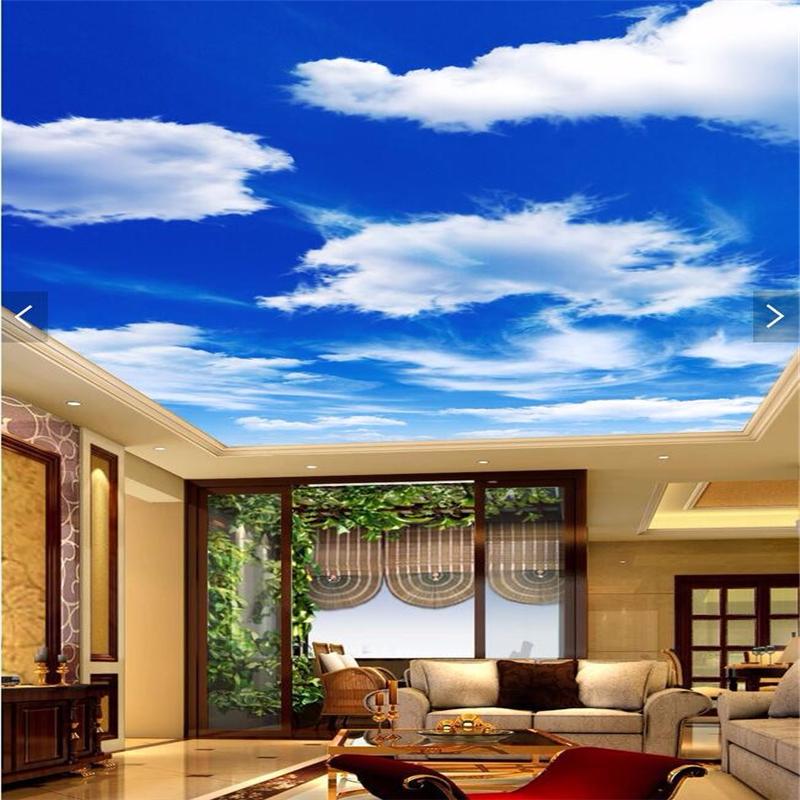 Hemel Witte Wolken Muurschilderingen behang voor Woonkamer Slaapkamer ...