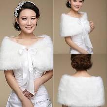 Dernières 2015 élégant et chaleureux en fausse fourrure ivoire Bolero ruban de mariage Wrap châle de mariée veste manteau accessoires(China (Mainland))