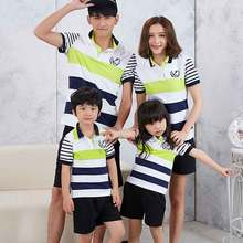Family Look Matching Family Clothes Set Mother Daugher Men Couples Clothing Boys Cotton Striped T-Shirts Kids T Shirt Women Tee