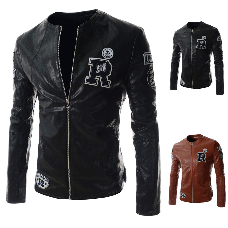 Japanese original individual letters embroidered Harajuku biker jacket motorcycle suit jacket leather men's age(China (Mainland))