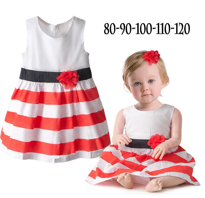Cute Baby Girls Flower Red White Stripe comforter Princess Vest Dress Princess Dresses For Kids Clothing Little Girl Party Dress(China (Mainland))