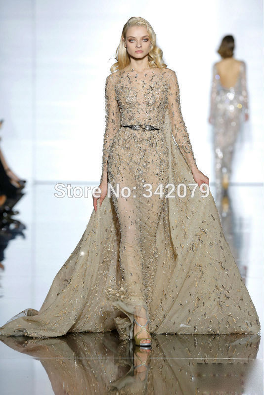 ph15445 thread and beaded flowers Bronze silk tulle dress zuhair murad evening dresses 2015 long evening dresses with sleeves(China (Mainland))