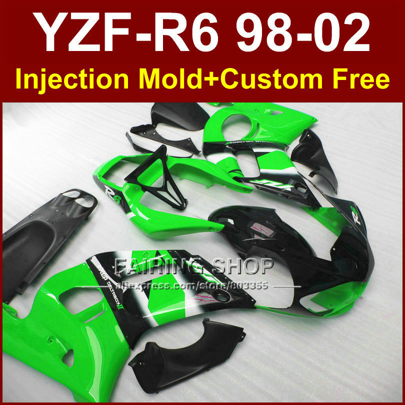 O7C3 Hot sale green fairing parts for YAMAHA fairing kit YZF 1000 R6 98-02 custom fairing YZF R6 1998 1999 2000 2001 2002 5CEX(China (Mainland))
