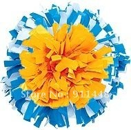 "cheerleader pom pom dual-head baton 6"" * 3/4"" professional poms plastic white yellow and blue mini order 10 pieces"