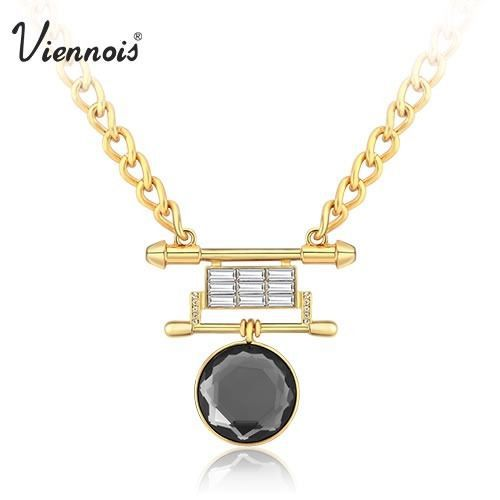 Viennois Punk Rock 18K Gold Black Crystal From Swarovski Rhinestone Statement Chain Necklace & Pendant For Women New(China (Mainland))