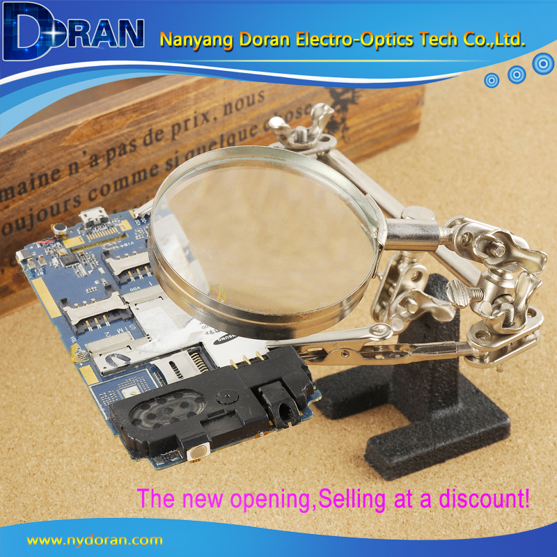 2015 New Lighted Hobby 2.5X 50mm Magnification Board Repairs Desk Bench Magnifying Glass Observe the Circuit Board<br><br>Aliexpress