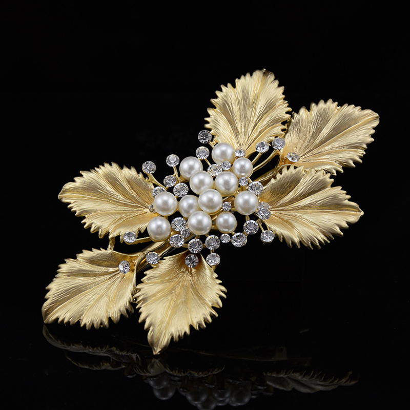 Handmade Luxury Girl Hair Accessory Gorgeous Big Metal Pearl Rhinestone Gold Leaf Hair Clip Crystal Bridal Wedding Hair Barrette(China (Mainland))