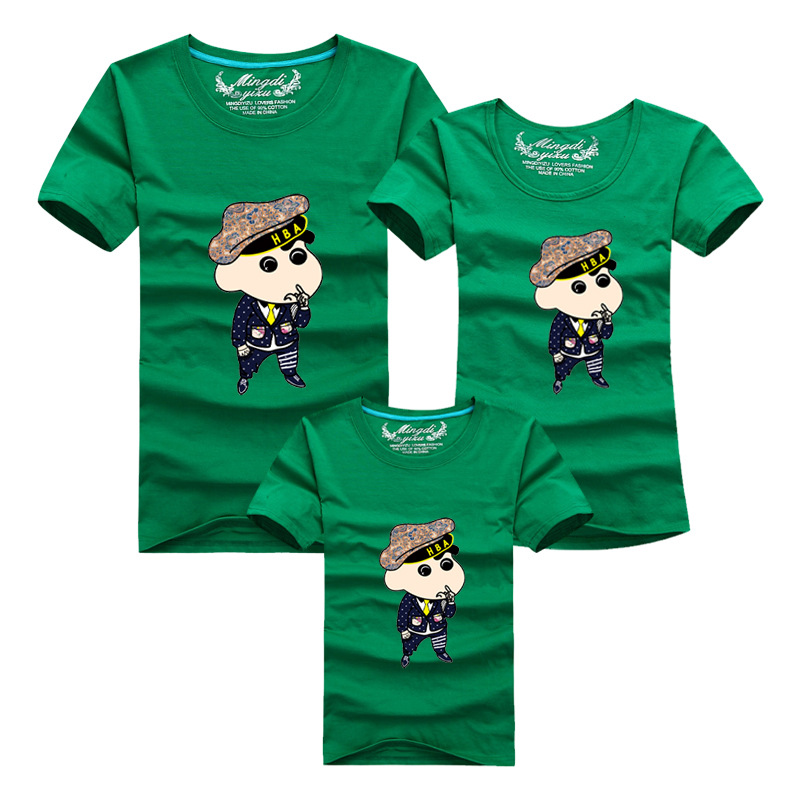 Mother Father Baby font b Matching b font Clothes Summer Short Sleeve Cotton Print T Shirts