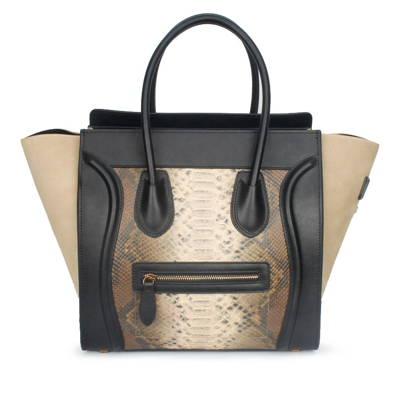 2016 High Quality First Layer Cowhide Name Brand Smiling Face Handbag 100% Genuine Leather Snake Skin Nubuck Leather Tote Bag(China (Mainland))