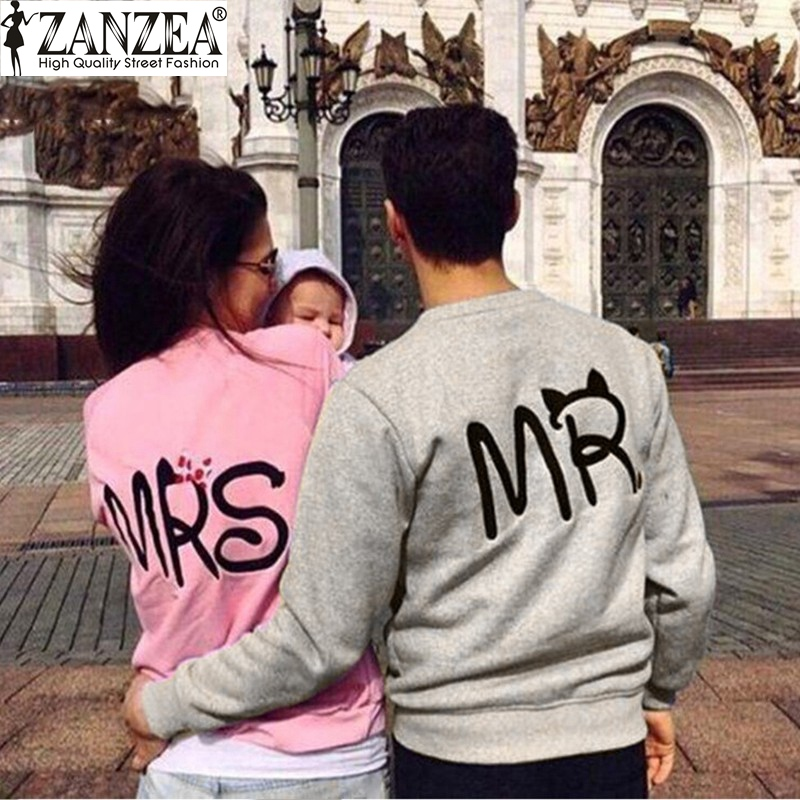 ZANZEA 2016 Fashion Autumn Casual Long Sleeve Mr Mrs Letter Print Pullover Hoodies Couples Lovers Sweatshirts For Men And Women(China (Mainland))