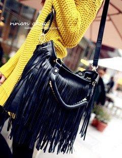 European and American fashion magazines, models feminine2011Korean version of the long sides fringed shoulder bag Messenger bag