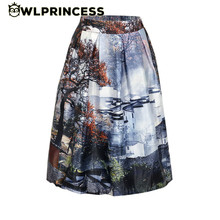 Owlprincess 2016 New Women's High Waist 3D Autumn scene Painted Skirts Pleated Knee-Length Skirt Vintage Ball Gown Elegant Style