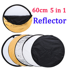 "24"" inch 60cm 5 in 1 Portable Collapsible Light Round Photography Reflector Studio Reflector  Photo Studio Accessories(China (Mainland))"