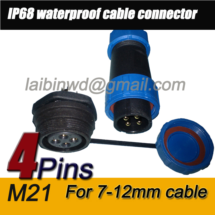 M21 IP68 4pin Dustproof Aviation Connector Plug-In, 30A waterproof IP68,Cable Connector+Rear mount,Plug and socket(China (Mainland))