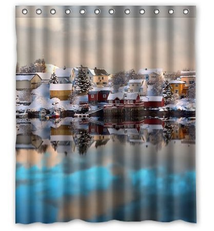 High Quality Polyester Waterproof Norway Lofoten winter house snow boats 60X72 Inch Shower Curtain Decorate your bathroom(China (Mainland))