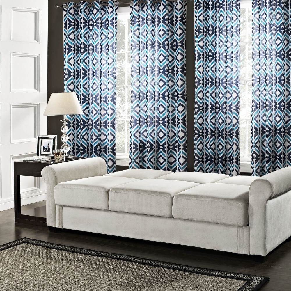 Printed Blue Geometric Curtains For Living Room Europe