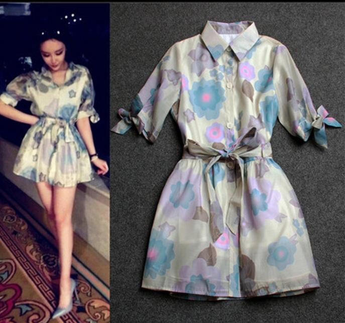 2015 women European summer fashion slim watercolor printing organza half sleeve pleated dress belt - TOPFEEDIT LTD store