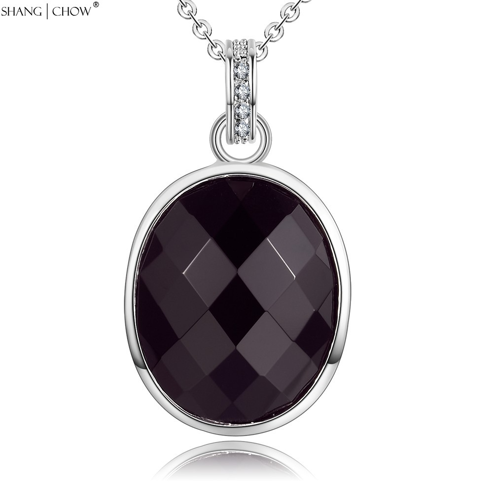 2016 Summer Fashion Jewelry Oval Sharp Black Onyx Stone 925 Sterling Silver Pendant for women Career Wear Accessories P448(China (Mainland))