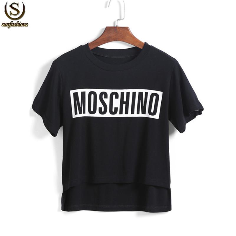 2015 European Style Black Short Sleeve Dip Hem Casual Tees Summer Designer Women Loose Letter Print Round Neck T-Shirt(China (Mainland))