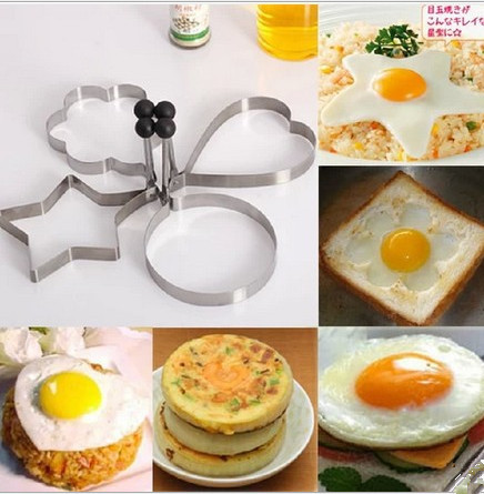 1 lot = 4 PCS green stainless steel Fried eggs tooling model apparatus breakfast model molding baking tools for cakes(China (Mainland))