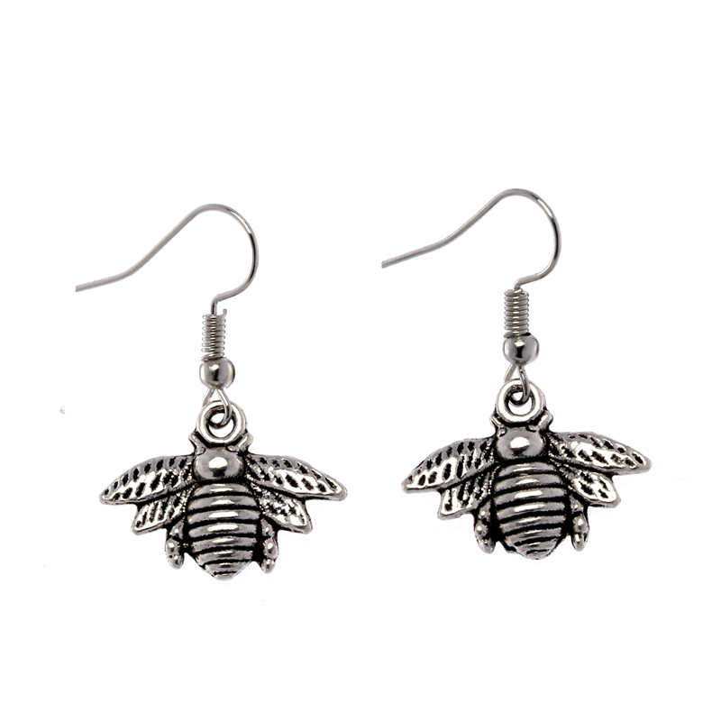 1Pair Antique Silver Alloy Small Lovely Bee Earrings For Women Handmade Insect Dangle Earrings Jewelry Fashion Ne324(China (Mainland))