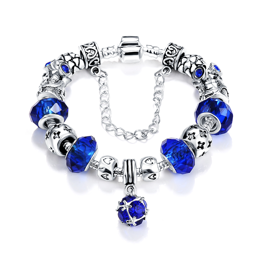 2016 Russia Popular Antique Silver Round Pendant Charm Bracelet & Bangle Blue Color Glass Beads Jewelry PCBR0052(China (Mainland))