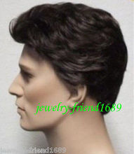 Wholesale& heat resistant LY free shipping>>>New wig Heat Resistant short Dark brown Man wig