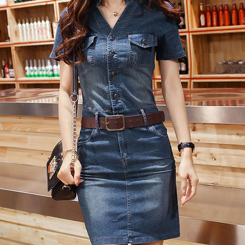 Popular Women Denim Dress Fashion Spring Autumn A Line Women Jeans Dresses