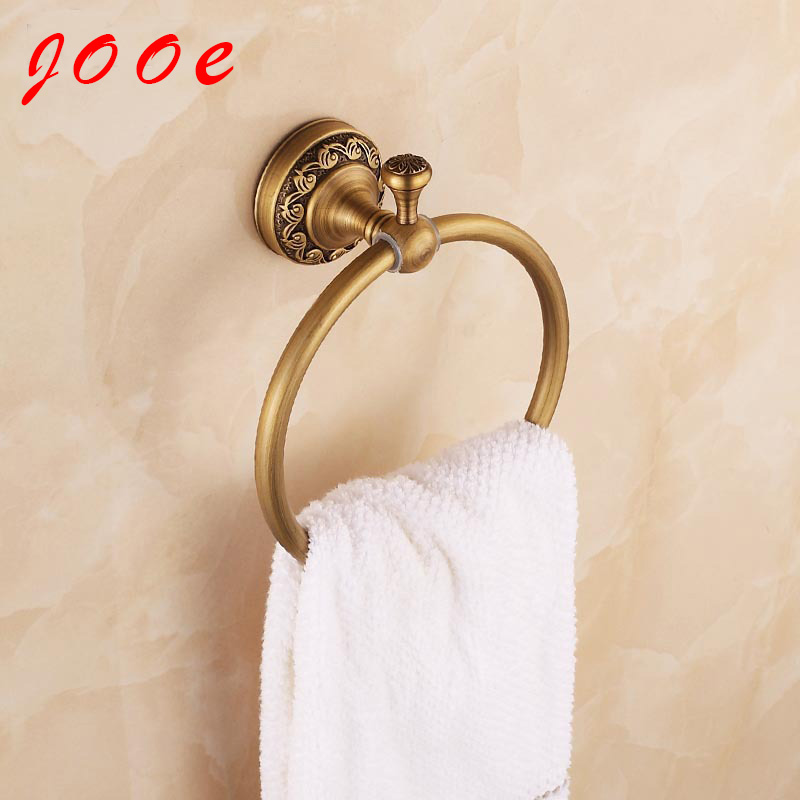 Jooe Antique brass towel ring bathroom accessories wall luxury constructive round rack handdoek ring banheiro toallero laton(China (Mainland))