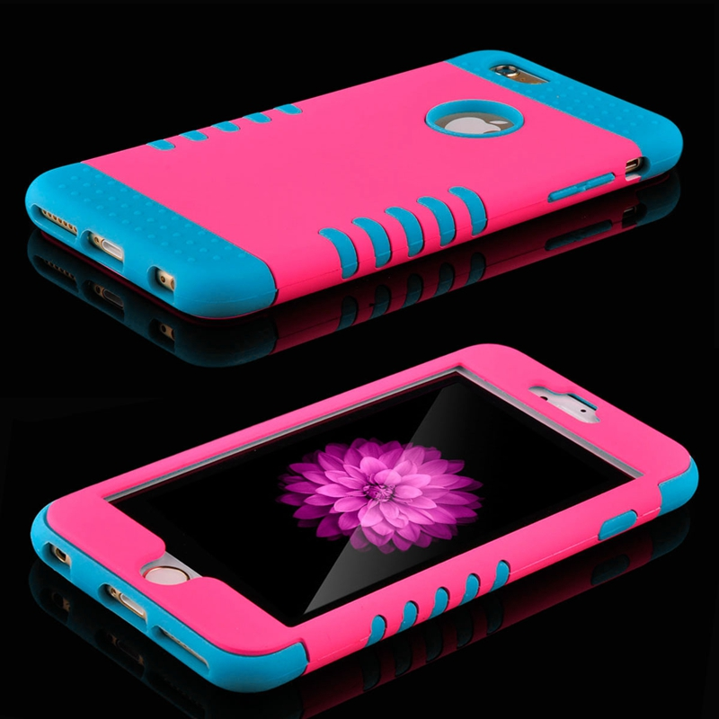 Luxury 3 in 1 Plastic Hard Case For iphone 6 6S 4.7 / 6 6S Plus 5.5 Silicone Cover Heavy Duty Armor Hybrid Phone Cases Capa Pink(China (Mainland))