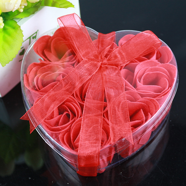 1 Box 9 Pieces Bath Body Flower Heart Favor Soap Flower Rose Petal Wedding Decoration Gift(China (Mainland))