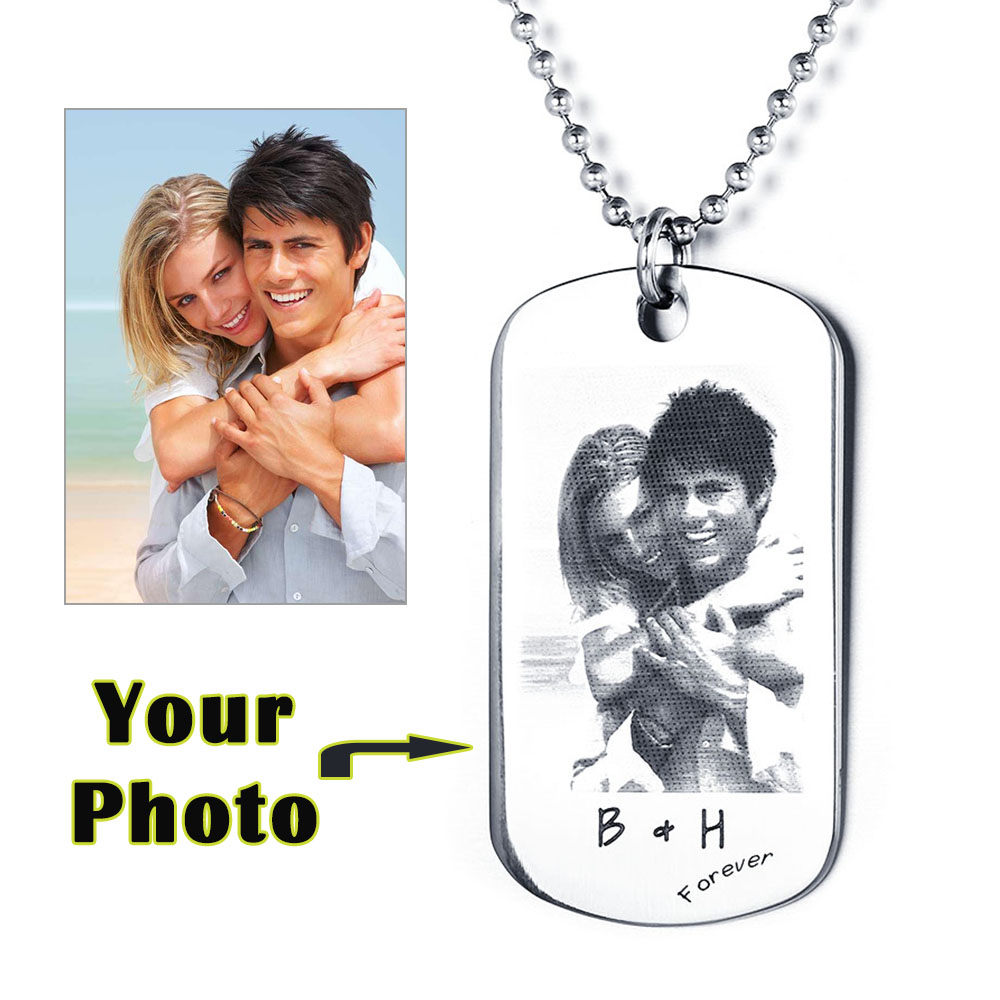 Father's Day Gift Personalized Photo Dog Tag Custom Engraving Picture Text Necklace Stainless Steal Pendant For Lover(China (Mainland))