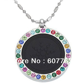 Fashion Stainless Steel Therapy Healing Power Volcano Energy Pumice Quantum Stones Multi Color CZ Stones Pendant Necklace