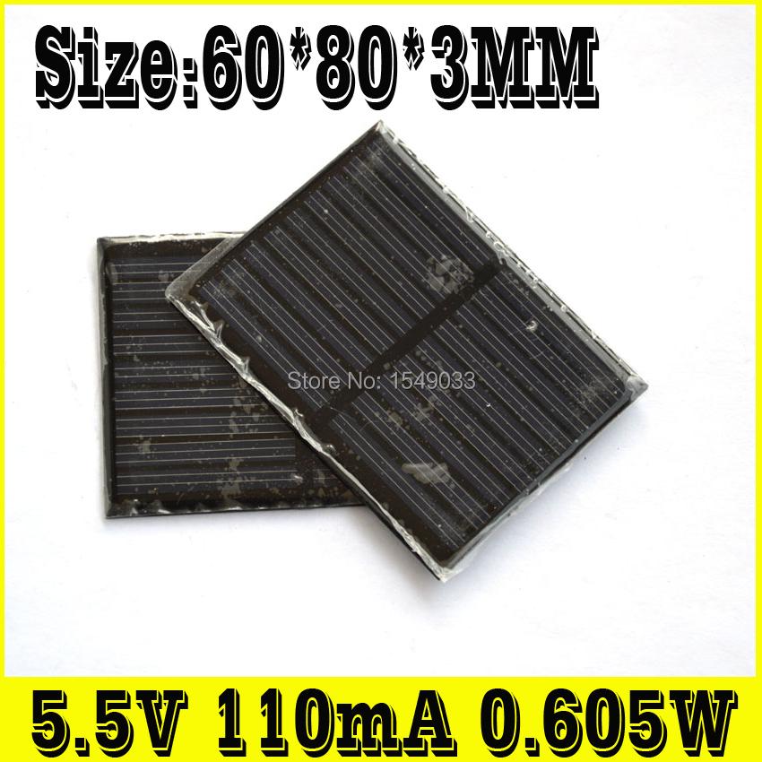 NEW 10pcs 5.5V 110mA 0.605W solar panels photovoltaic module PV module Solar Power(China (Mainland))