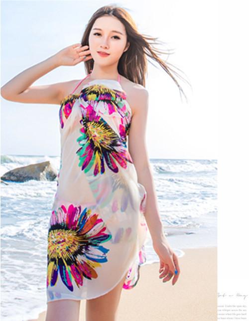 Fashion Beach Scarf Color Printed Sunscreen Cape Thin Chiffon Shawls Women - Yiwu Chunlei E-commerce Co.,ltd store