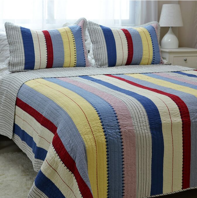 Free Quilt Patterns Queen Size Bed : Free shipping home fashion stripe 3pcs 100%cotton patchwork quilt set full/queen size ...