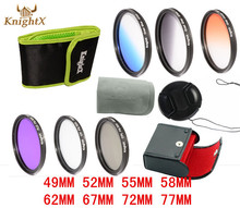 Knightx uv cpl nd graduado filtro de color sistema de la lente para canon nikon Sony DSLR SLR Lentes de cámara d90 D3000 cámara 400D 450D 5D 6D