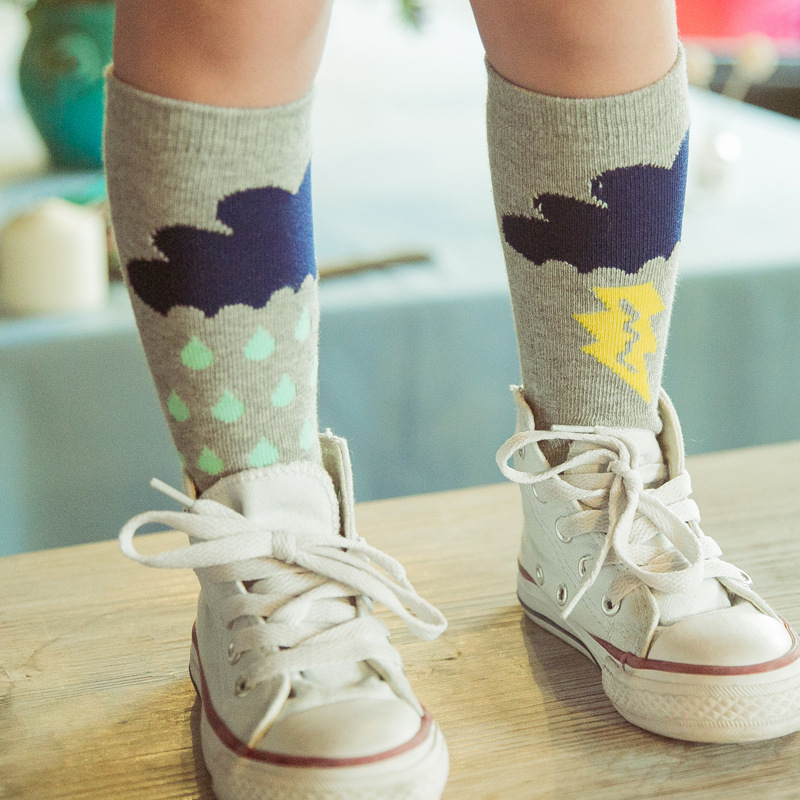 Kids Cotton Socks Knee High Toddler Boot Sock Leg Warmer Baby Boy Girl Children Cute Rainy Pattern Long Socks