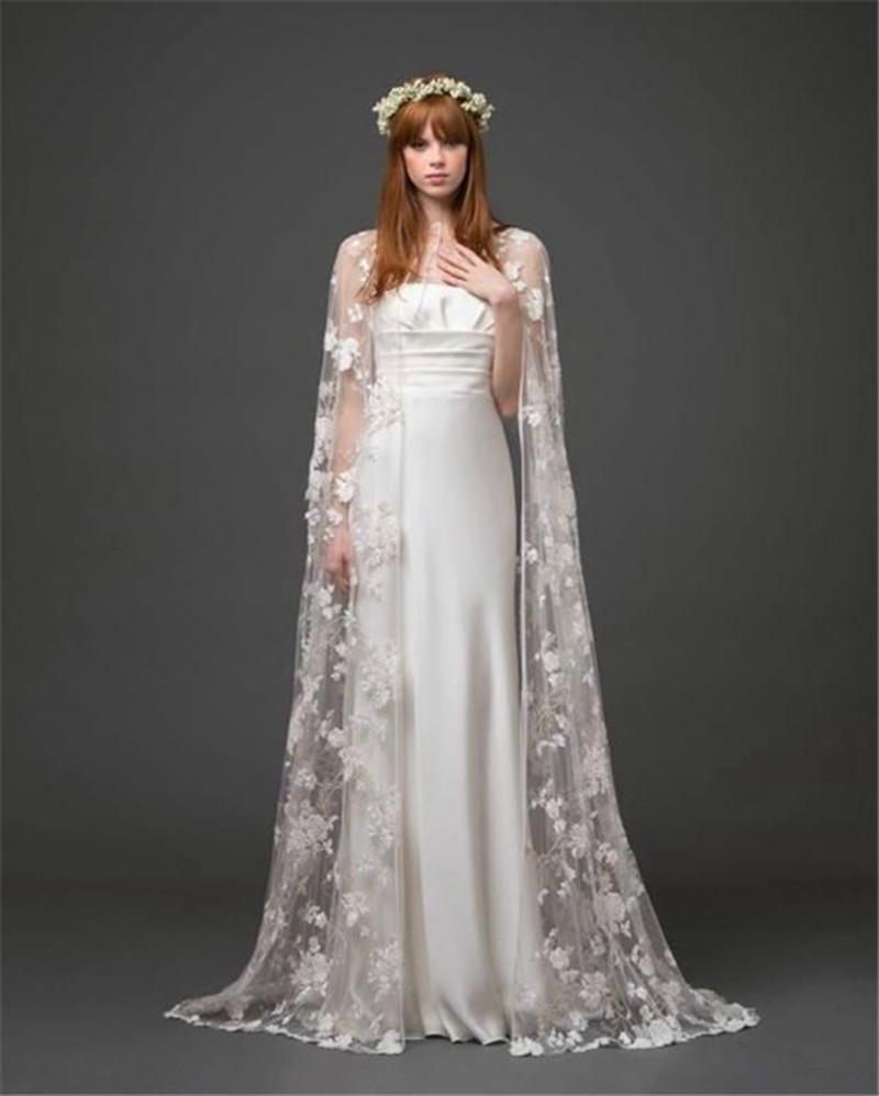Newest Style Bridal Cape Jackets Lace Vintage White Wedding Applique Bolero Bridal Shrug