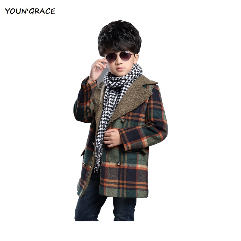 A.I.K New 2017 Boys Winter Warm Plaid Woolen Coat with Velvet Brand Boys Jacket with Pocket Trench Kids Woolen Outwear, YC039