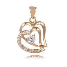 Newest Nice 1pc 18K Rose Gold Filled Double Hearts Striking CZ Latest Woman's Pendant(China (Mainland))