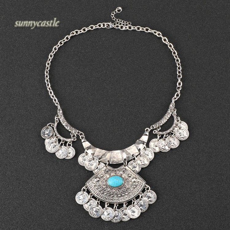 Fashion Bohemian Ethnic Style Women Metal Necklace Retro Chain Pendants - SunnyCastal store