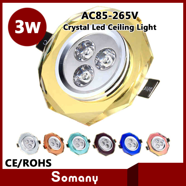 Somany Discount 4pcs/lot Crystal Dream Color Mask Crystal Led Ceiling Lamp 3W Led Down Light Spotlight AC85-265V Bedroom Cabinet(China (Mainland))