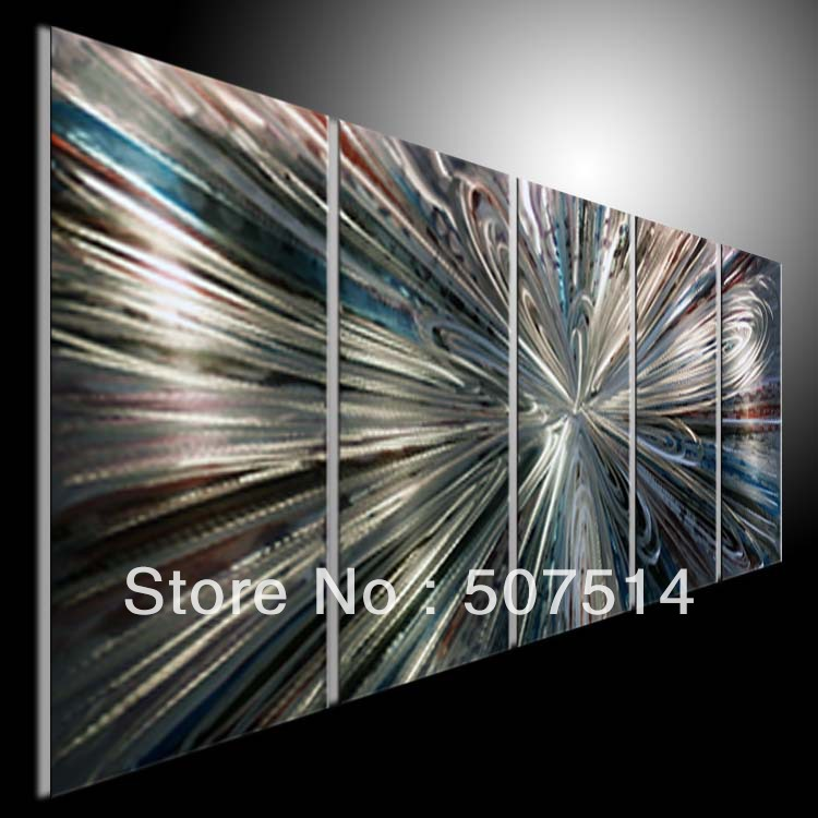Original abstract wall art on metal aluminum modern metal for Origine metal resinence